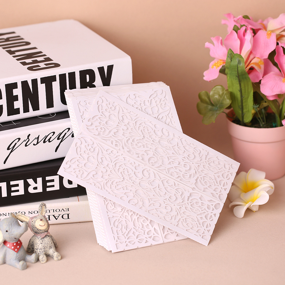 20pcs/set White Wedding Invitation Card Kit Pearl Paper