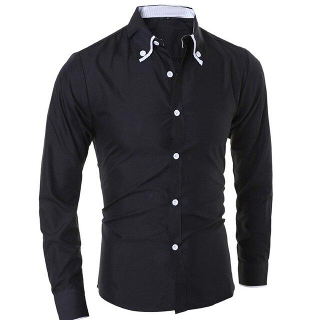 Shirt Men New 2016 Mens Plain Color Stylish Formal Casual Slim Fit Dress Shirt Black White Solid Color Plus Size M-2XL DM#6