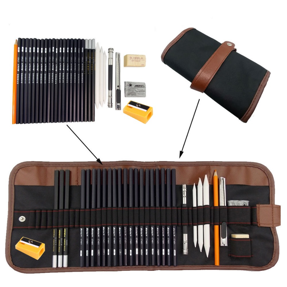 31pcs/set Portable Outdoor Drawing Art Supplies Sketch Pencils Case Charcoal Eraser Cutter Kit Bag Art Craft For Drawing Tools