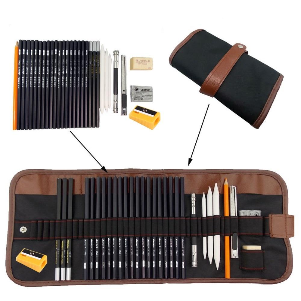 31pcs/set Portable Outdoor Drawing Art Supplies Sketch Pencils Case Charcoal Eraser Cutter Kit Bag Art Craft For Drawing Tools