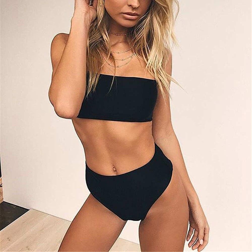 5c2da2a53 Bath Suit High Waist Bikini Beachwear Sexy Thong Women Solid Swimsuit