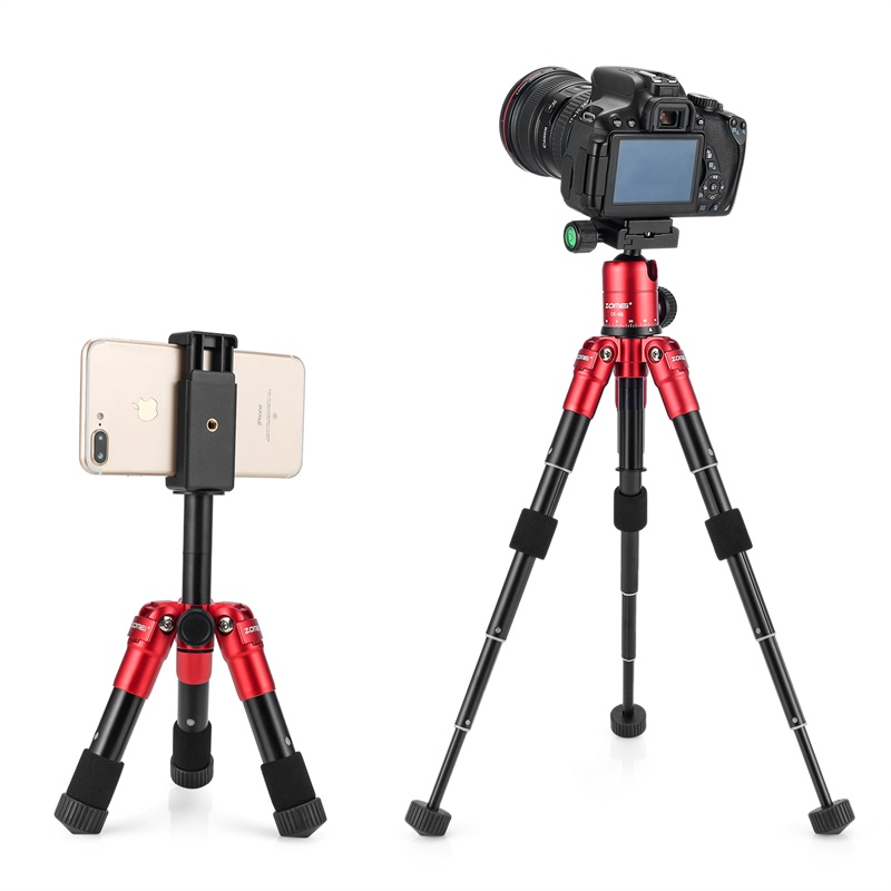Zomei Caméra En Direct Trépied léger En Aluminium Flexible CK45 Mini trépied de dessus de table Téléphone support pour smartphone DSLR Caméra vidéo