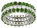 3.60ctw Round Chrome Diopside And 1.80ctw Round White Zirconia Silver Set Of 3 Eternity Band Rings