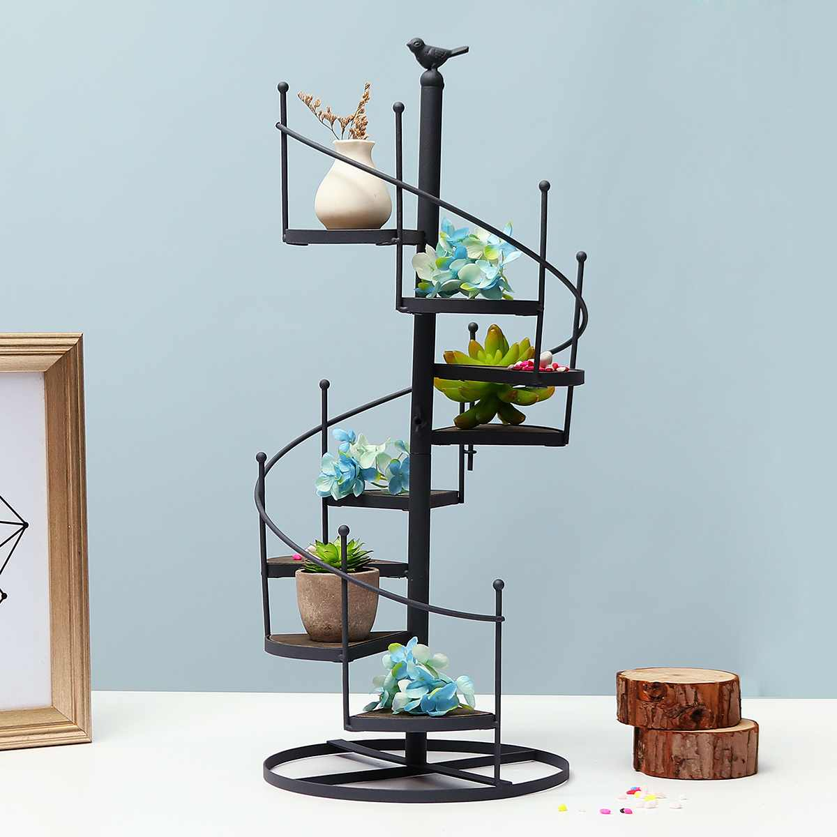 8 Layer Stair Shape Iron Plant Rack Metal Stand Plants Succulent Shelf Desktop Garden Flower Modern Decorative With Wood Plate