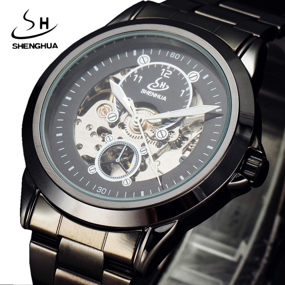 SHENHUA Black Classic Mens Skeleton Watch Steampunk Casual Stainless Steel Clock Male Gift Dress Automatic Mechanical Watches shenhua luxury antique automatic mechanical watches men gift box leather steampunk mens wrist watches male clock horloges mannen