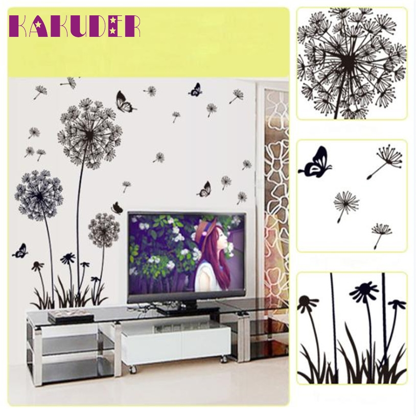 Kakuder Hot Sale Diy Black Dandelion Flower Butterfly Art