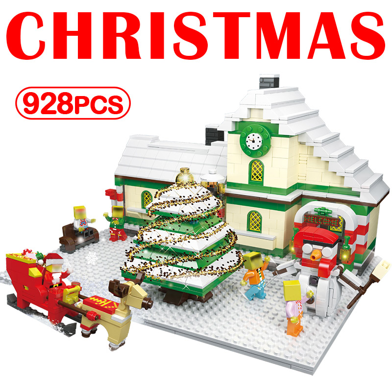 Legoinglys Building Blocks Santa Reindeer Minecrafted CHRISTMAS Trees Carriage House Educational Bricks Toys For Children Gifts christmas santa house face number watch page 5