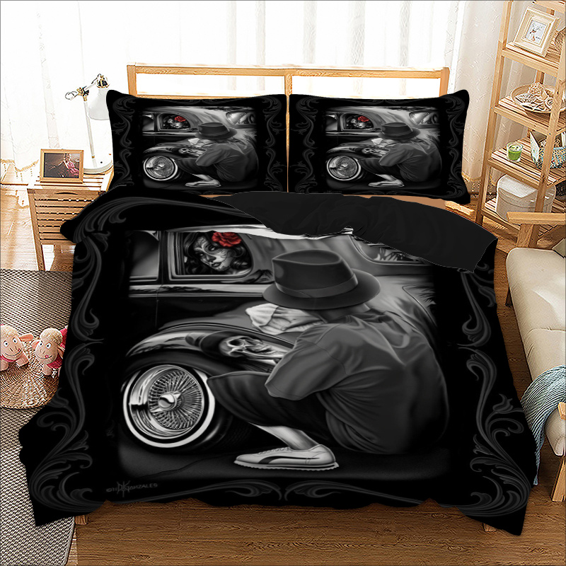 Gothic Bedding Set Skull Duvet Cover Pillow Cases Twin Full Queen King UK Double Size Beautiful Woman Bedclothes 3pcs