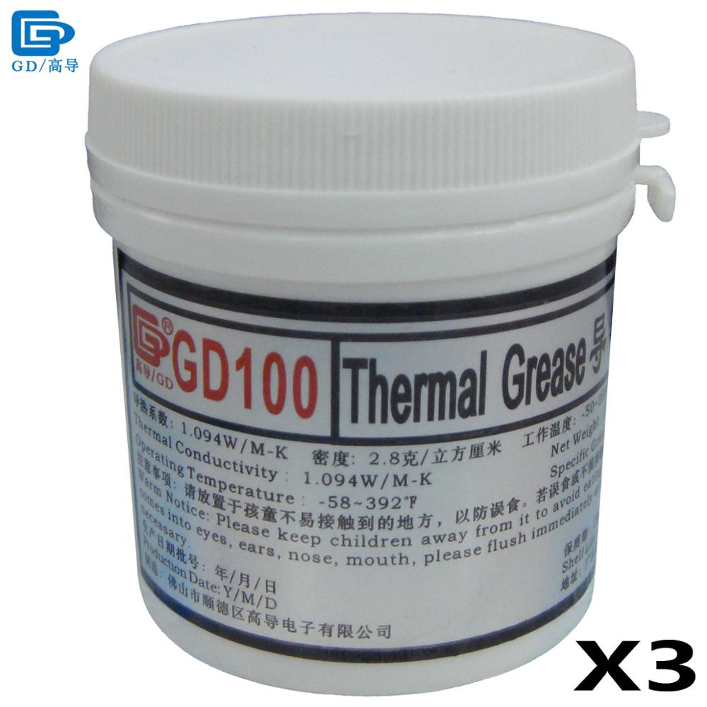 GD Brand Heat Sink Plaster Compound GD100 Thermal Conductive Grease Paste Silicone 3 Pieces Net Weight 150 Grams White CN150 gd brand thermal conductive grease paste silicone plaster gd460 heat sink compound net weight 1000 grams silver for led cn1000