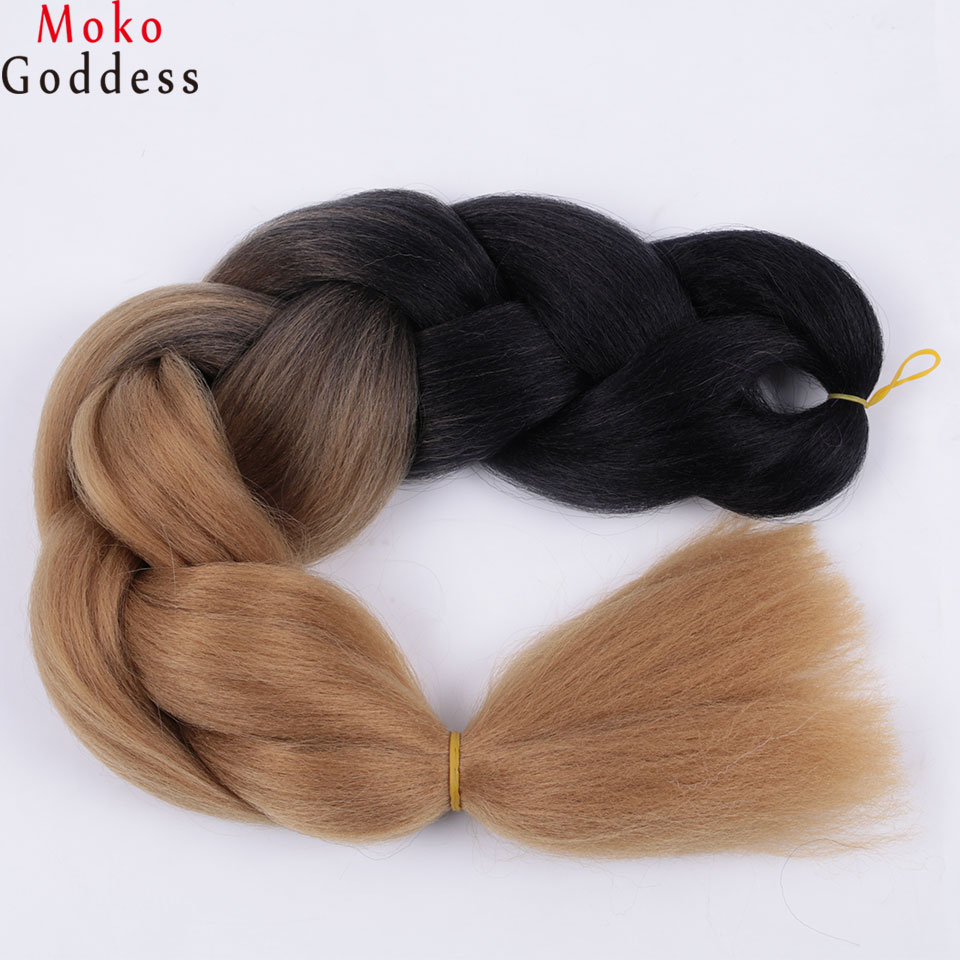 Ali MoKoGoddess Hair Products Ombre Braiding Hair Extensions 24 Inch 100g/pc Synthetic Kanekalon Jumbo Braids