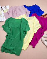 2015 Silk Mulberry Silk Crepe De Chine Basic Women S Short Sleeve Shirt Solid Color T