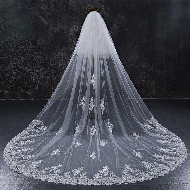 Romantique 4 M mariage voile cathédrale une couche dentelle appliqué Long voiles de mariée avec peigne femme marier cadeaux 2018 nouveaux accessoires