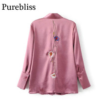 Purebliss 2017 autumn long sleeve rose flower embroidered floral print blue satin pink shirt women silk blouse blusas ladies top