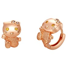 Lovely Hello kitty hoop earrings rose gold plated girl earrings jewelry gift