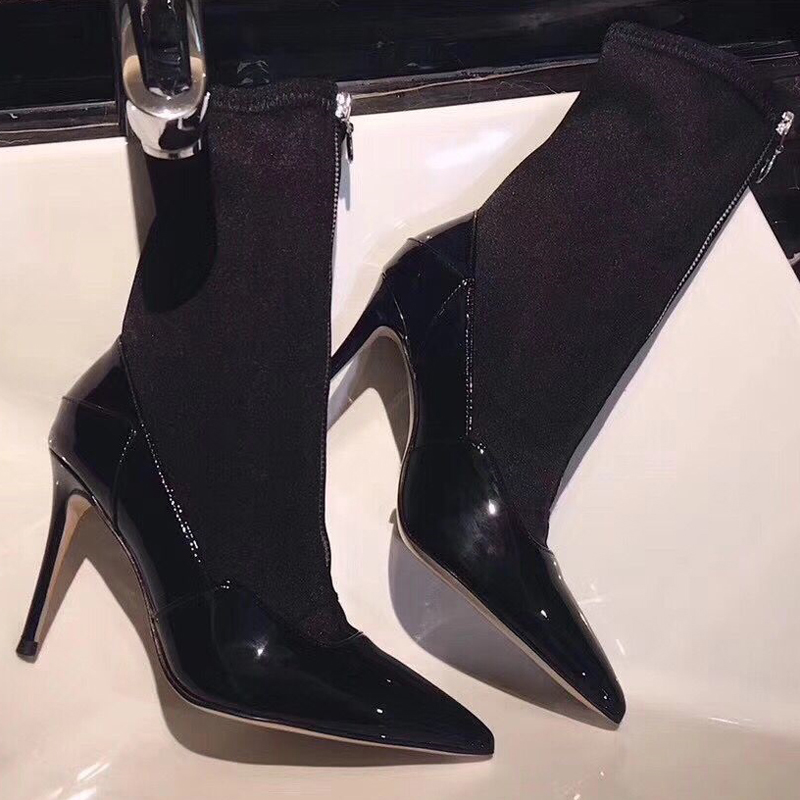 1 Hauts Cuir Patchwork Sexy Stretch Zip Black Femelle Avant black Talons Tissu 2 Verni Bottines Bout Femme Dames Pointu Stiletto En gfgwSUq