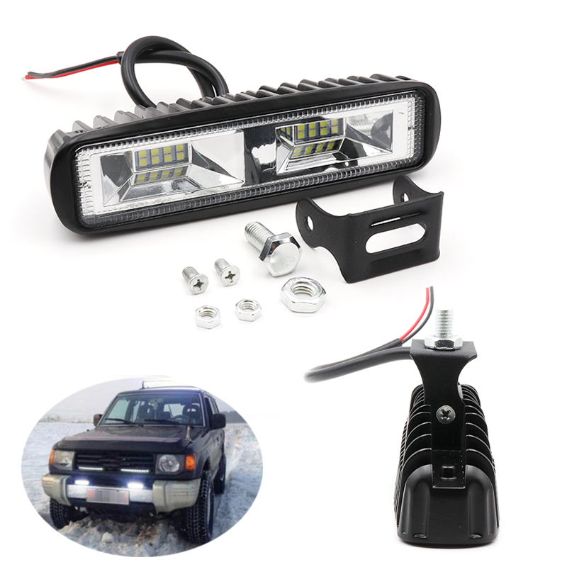 Niscarda 6 inch 12V 48W <font><b>16</b></font> <font><b>LED</b></font> <font><b>Light</b></font> Bar <font><b>Work</b></font> Lamp Flood Beam Bulb Car Driving Fog Lamps For Jeep Truck Tractor Boat Trailer image