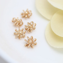 10PCS 8MM 24K Champagne Gold Color Plated Brass Flower Charms Pendants High Quality Diy Jewelry Accessories