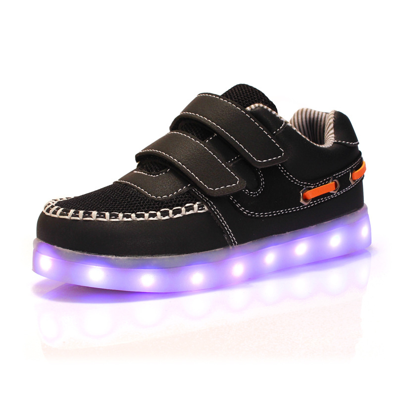 KRIATIV 2017 USB Charging Kid Light Up Shoes Children Neon Led Slippers Do With Light Up
