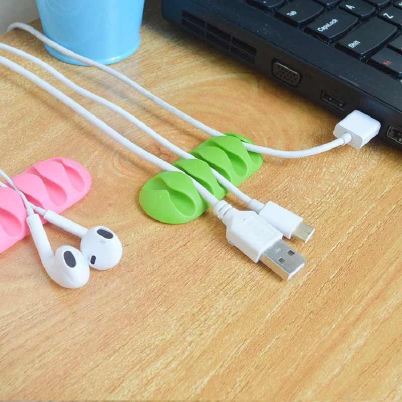 Wysokiej jakości oplot na kable organizator do kabla od słuchawek przechowywanie drutu Silicon Charger klipsy do kabli do MP3, MP4, słuchawki