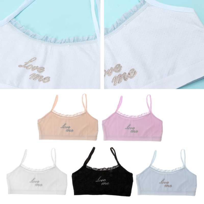 נערות צעירות גופיות כותנה ילדה תחתוני הדפסת תחרה אפוד העליון עבור בני נוער אימון חולצה