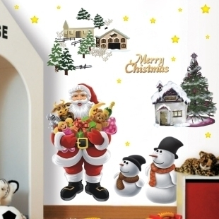 freeshipping 5070cm 3pcslot happy new year tv bedroom cartoon merry christmas background