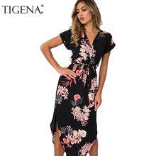 56802a50609 TIGENA 2018 цветочный принт длинное богемное летнее платье для женщин макси  туника Boho пляжное вечернее и