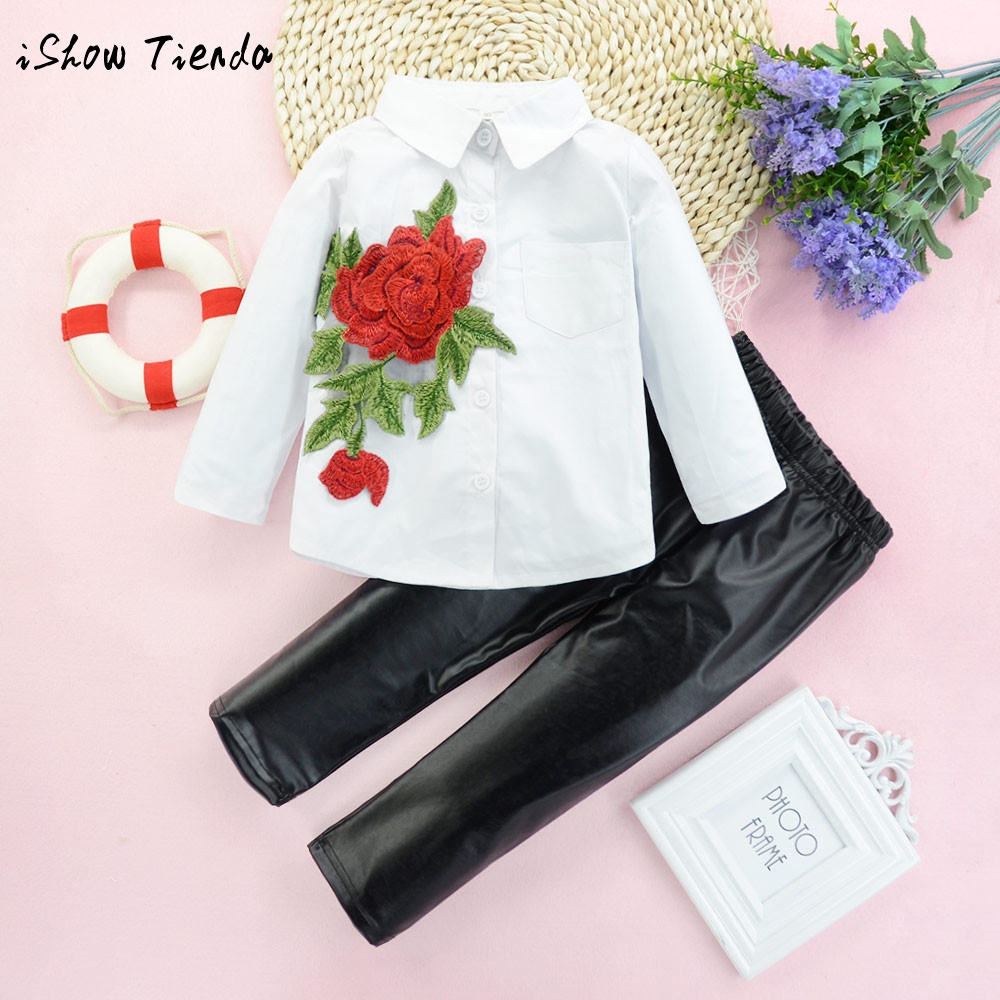 Todder Child Kid Girl Rose Appliques long sleeve T-Shirt Floral blouse+Leather pant 2PCS Outfits Set winter warm costume clothes
