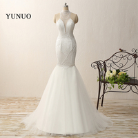 Vestido De Noiva Sexy Sheer Back Mermaid Full Pearls Wedding Dress 2015 Custom Made Sheer Back