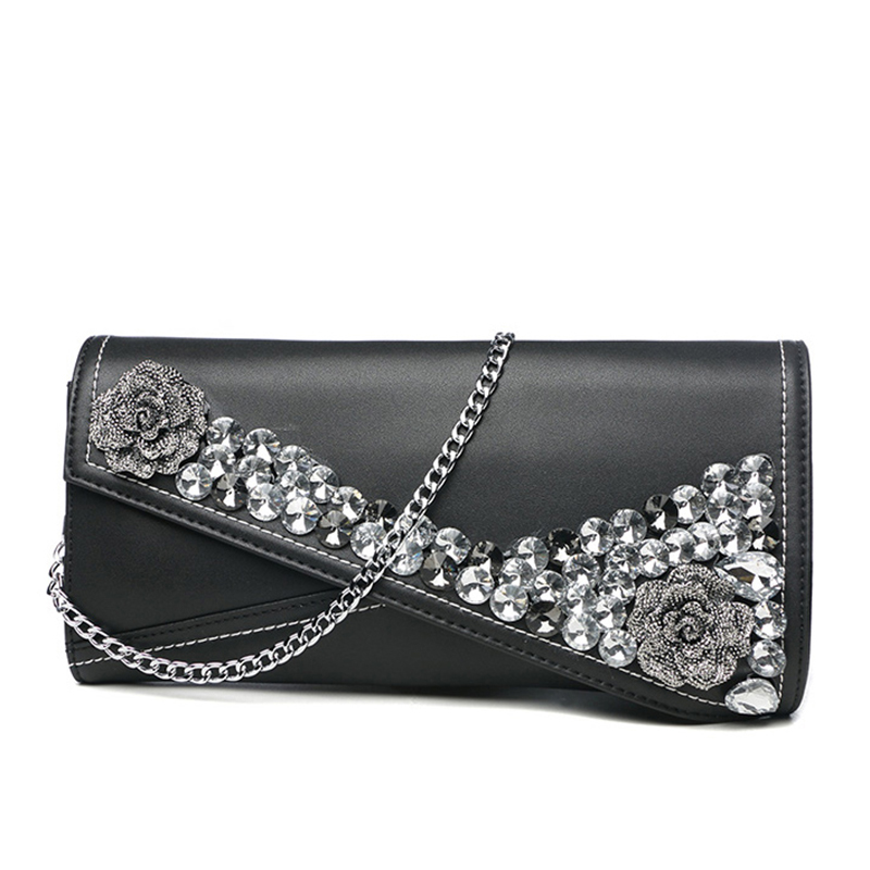 Fashion Women Diamonds Rose Banquet Bag Celebrity Clutches Handbag Purse Wallet Genuine Leather Shoulder Crossbody Evening Bag vintage serpentine genuine leather woman clutches evening bag crossbody chain shoulder bag handbag clutch wallet lady long purse