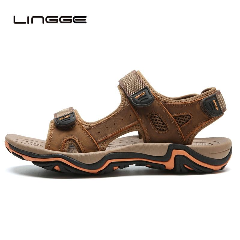 LINGGE/Новинка; модные мужские сандалии; большие размеры 39-45; ; летняя пляжная обувь; повседневные мужские сандалии из натуральной кожи;#2626