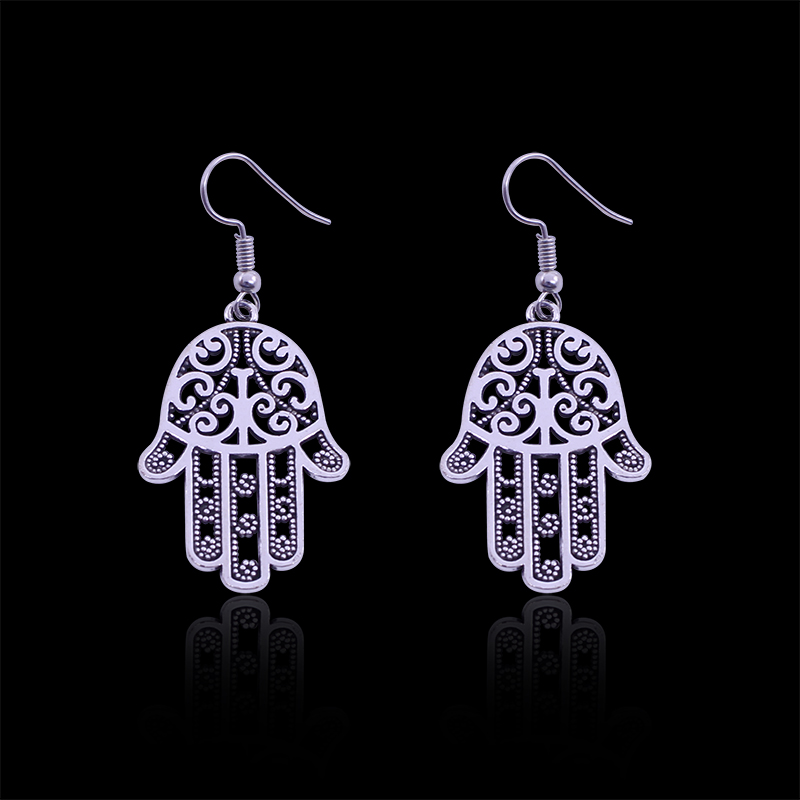 Vintage Hollow Hamsa Hand Earrings For Women Punk Hip Hop Exaggerated Hamsahand Earring Jewelry Pendientes Bijoux Brincos image