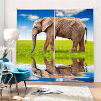 Customized Elephant Luxury 3D Blackout Window Curtain Drapes For Living room Bed room Hotel Wall Tapestry Cortinas