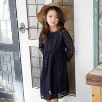 2017 Spring Girl Lace Princess Dress 2 14Y Children Clothes Kids Dresses For Girls Long Sleeve