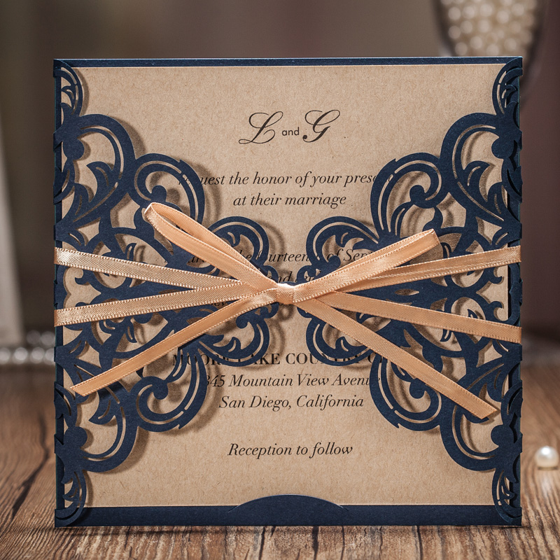50 PCS Classic Dark Blue Laser Cut Wedding Invitation Cards With Hollow Flower Gold Ribbon for