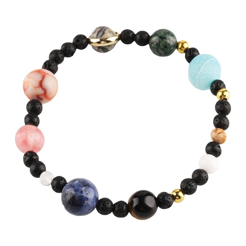 Cute Solar Galaxy Stone Beads Women Bracelet Sweet Planets Guardian Stars Stones Bangle