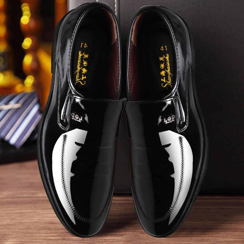 2019 Роскошные Мужские модельные туфли; мужские оксфорды из лакированной кожи; деловые кожаные туфли; мужские итальянские брендовые свадебные туфли