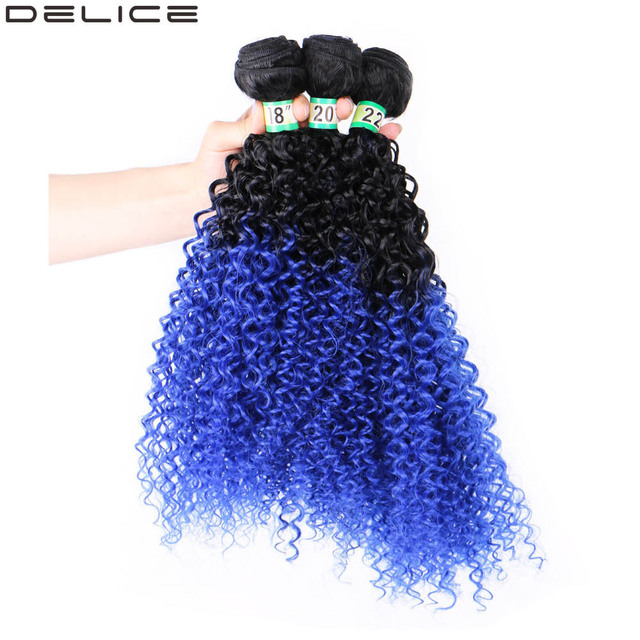 Delice Black To Blue Ombre Hair Weaving Kinky Curly Hair Extensions