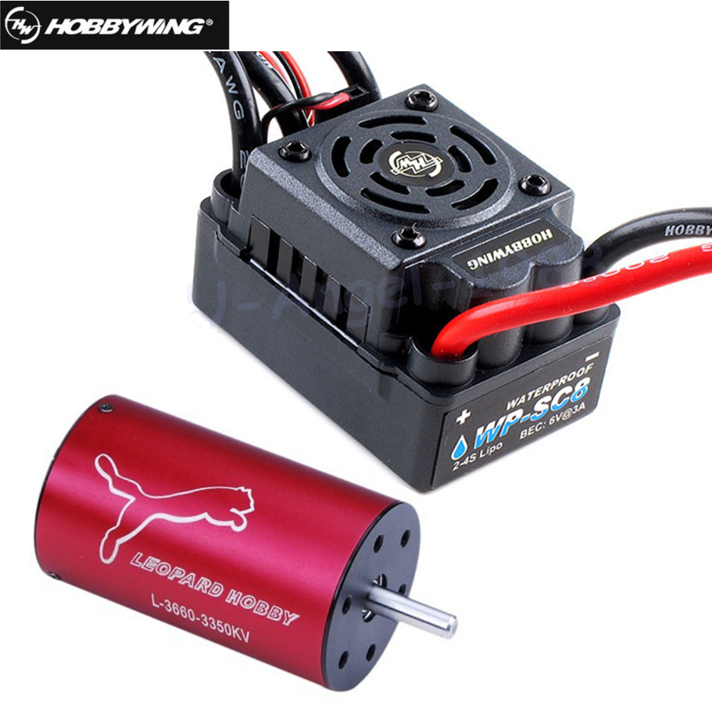 Original Hobbywing EZRUN Waterproof WP SC8 120A Brushless ESC +Lopard 4 Pole LBP3660 3800KV Brushless Motor for RC Drone wp sc8 waterproof 120a brushless esc splash water proof dust ezrun wp sc8 esc 2 in 1 multi functional professional programming