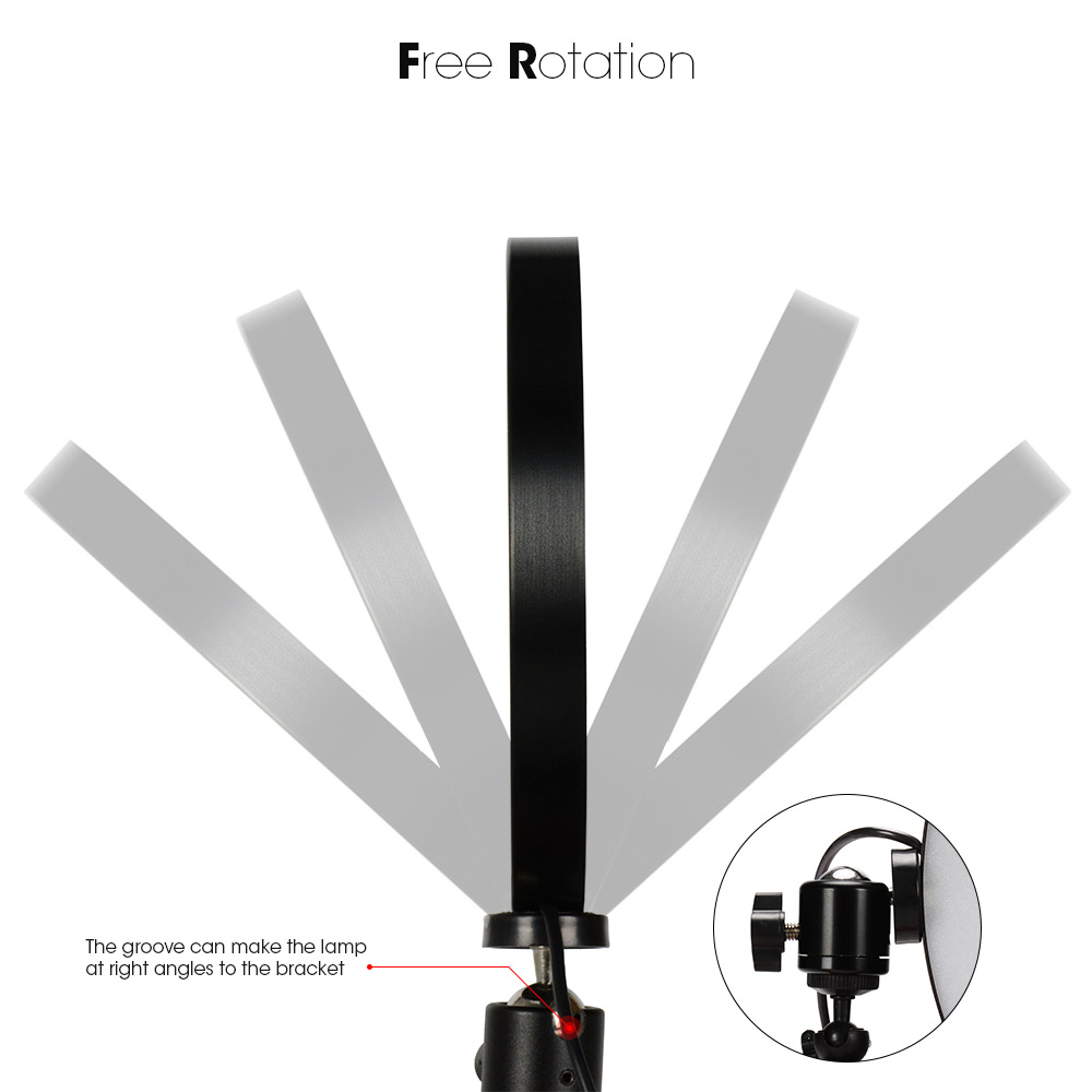 Photography LED Selfie Ring Light 16/26cm three-speed Stepless Lighting Dimmable With Cradle Head For Makeup Video Live Studio