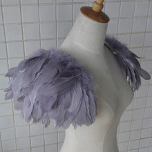 CRIAPSSOUL Free shipping handmade Ash Grey feather shoulder epaulette FSP13003A