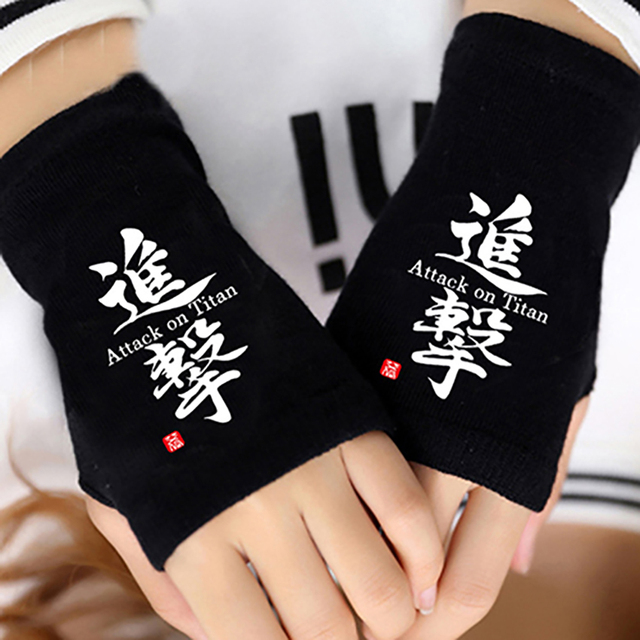 Anime Attack on Titan Finger Cotton Knitting Wrist Gloves