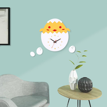 Design Yellow Chicken Egg Acrylic Wall Clock Wall Art Decal for DIY Home Decal Decor Vinyl Art Stickers Home Bedroom Decor Clock