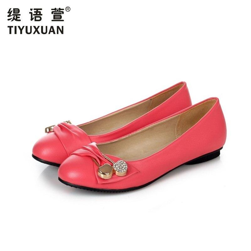 Nuevas Mujeres de Los Planos Zapatos de Cuero de Zapato de punta redonda señoras
