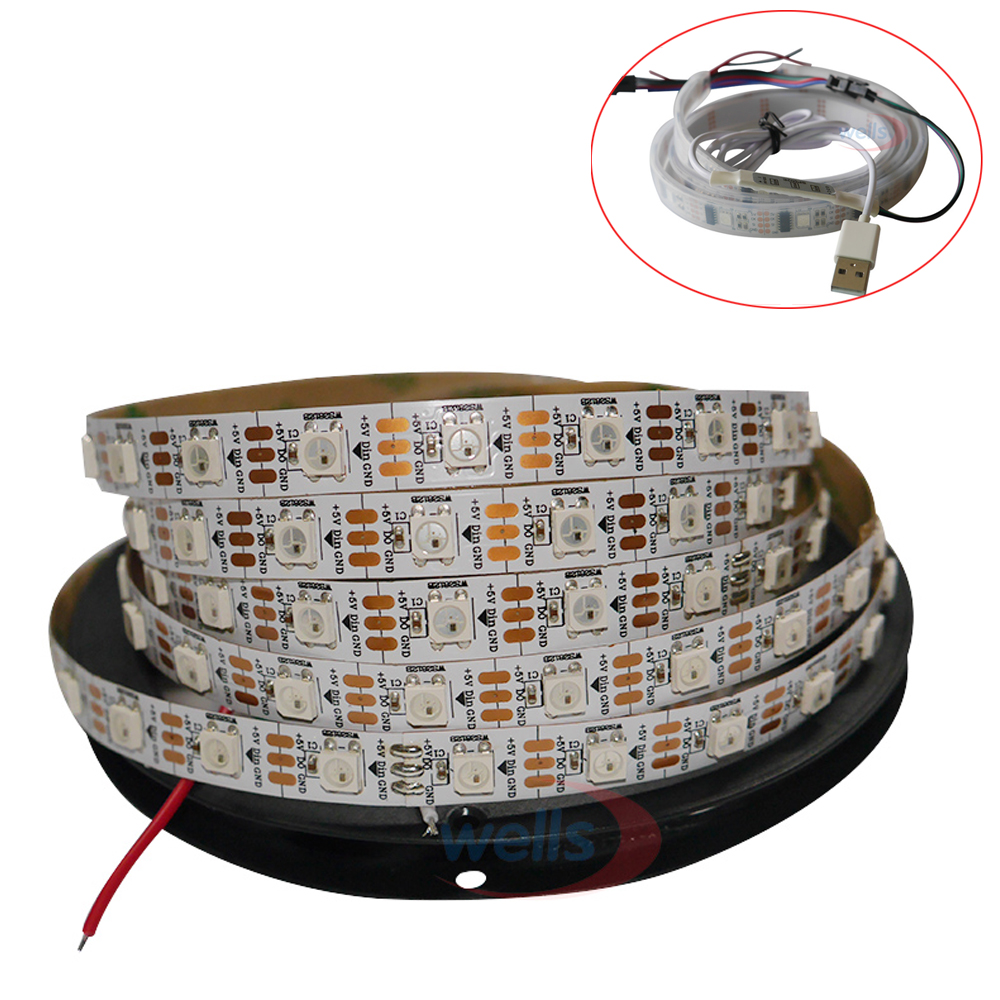 1m/2m WS2812B WS2801 USB Smart led pixel strip,Individually addressable ;IP30/IP65/IP67 DC5V,mini 3key controller with USB