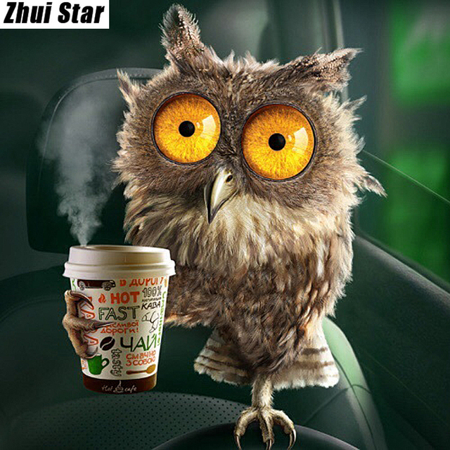 Full Square Diamond 5d Diy Painting Drink Coffee Owl Embroidery Cross Sch Rhinestone