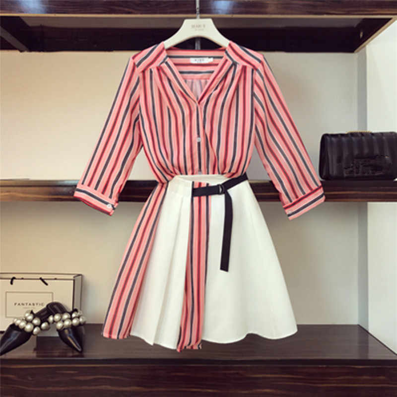 High Quality Women Off Shoulder Striped Blouse Shirts+High Waist Button Mini Skirts 2 Pieces Clothing Set Suits
