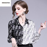 For Girls Chiffon shirt Women Spring Summer blouse Euro American fashion chic long sleeved blouse and print of cats