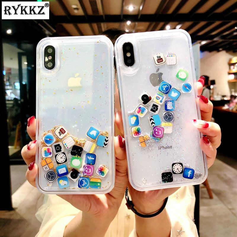 Funny Mobile Apps Icon Dynamic Liquid Quicksand Case For iPhone X Glitter  Soft Cover Fundas For iPhone 7 8 6S Plus Case Etui d3a2a2564b06