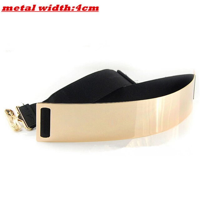 New Fashion Women's belt Elastic Mirror Metal Waist Belt Metallic Glisten Gold Plate Wide Obi Band for Women Female Accessories