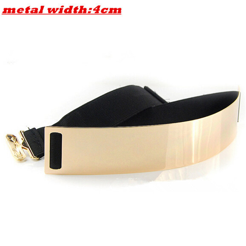 New Fashion Women's   belt   Elastic Mirror Metal Waist   Belt   Metallic Glisten Gold Plate Wide Obi Band for Women Female Accessories